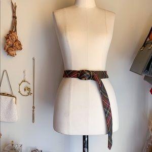 Vintage J.crew Plaid Tortoise Buckle Wool Belt S/M